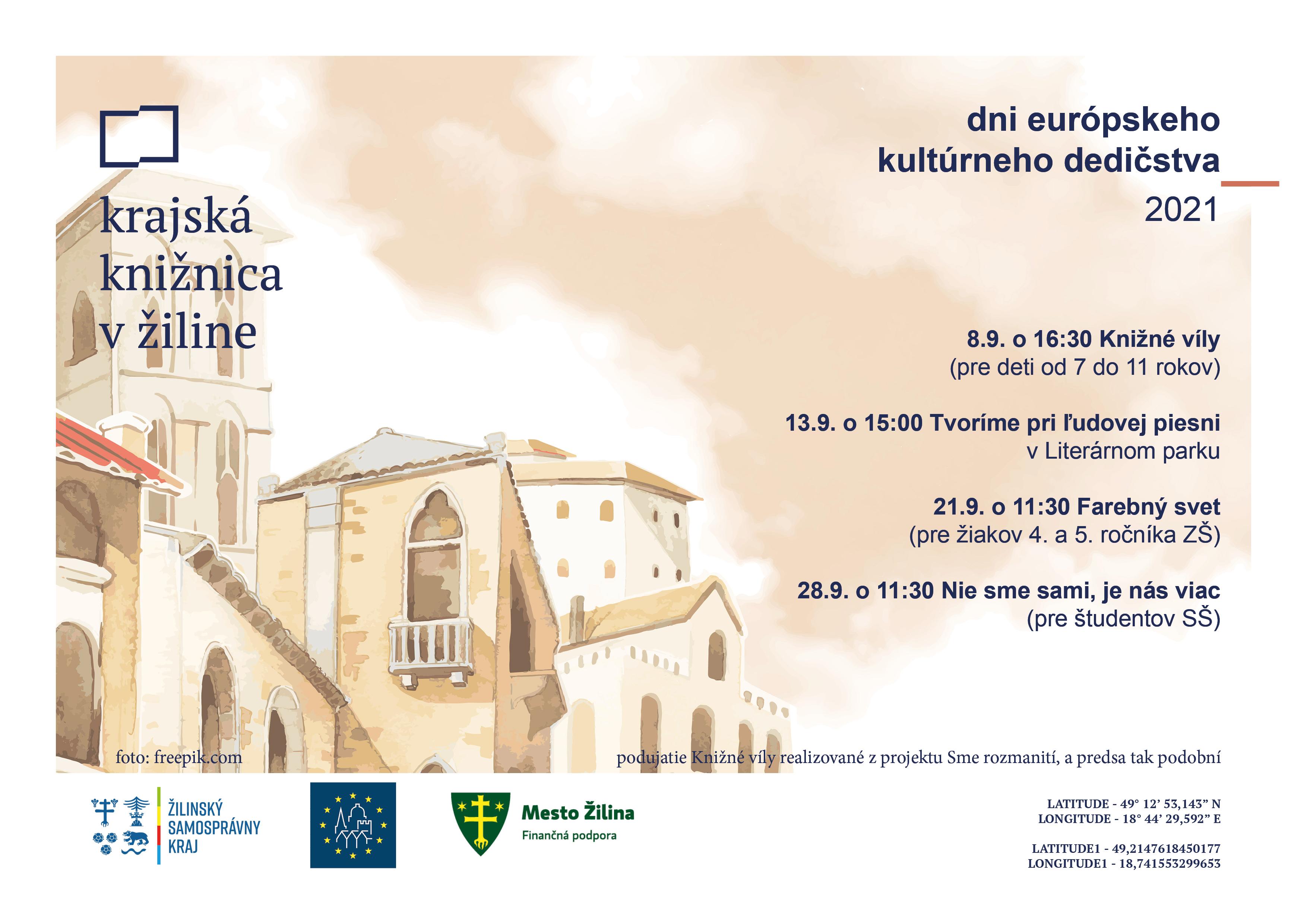dni európskeho kultúrneho dedičstva 2021 - podujatia v KKZA